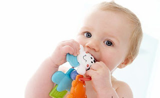 MODEL RELEASED. Baby teething. This baby is 9 months old.
